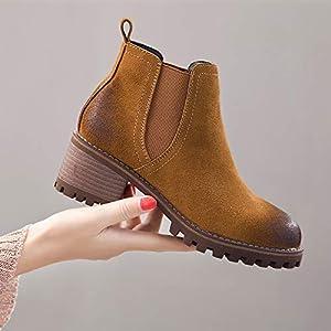 Top Shishang Herbst und Winter Frauen dicken hochhackigen Retro Matt Martin Stiefel Chelsea Stiefel und Stiefeletten westlichen Stiefeletten