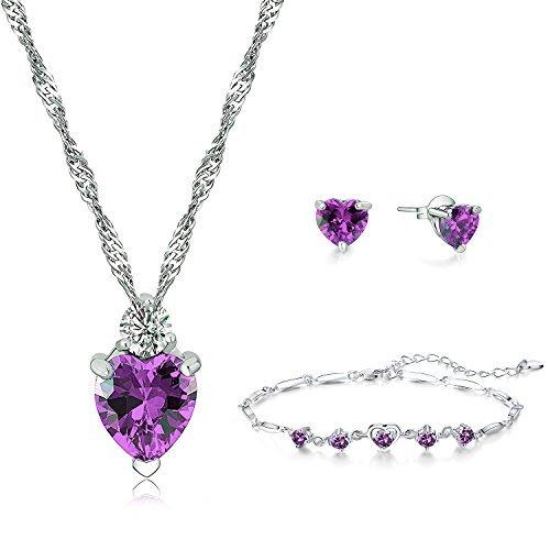 Majesto parure di gioielli - collana pendente e orecchini e braccialetto cuore amore cristallo viola per donna mamma bambina adolescente - accessorio regalo primario - argento sterling 925