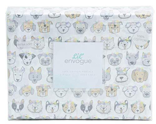 Lil Envogue Bettwäsche-Set aus Baumwolle für Welpen, Hunde mit Blumenkrone Twin (Twin Bettwäsche Hund)
