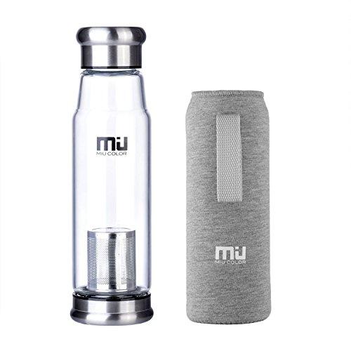 MIU COLOR® Stilvolle Tragbare 650ml Glasflasche Größere Kapazität Trinkflasche - Nylon Tasche für Auto (mit Teesieb, grau)