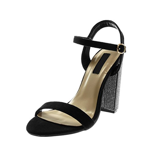 Angkorly Scarpe Moda Sandali Scarpe Decollete con Cinturino Alla Caviglia Donna Strass Tanga Tacco a Blocco Alto 12 cm Nero