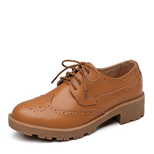 Vent de printemps chaussures rétro Angleterre/Brock chaussures femme/Chunky talons, cuir/Les souliers A
