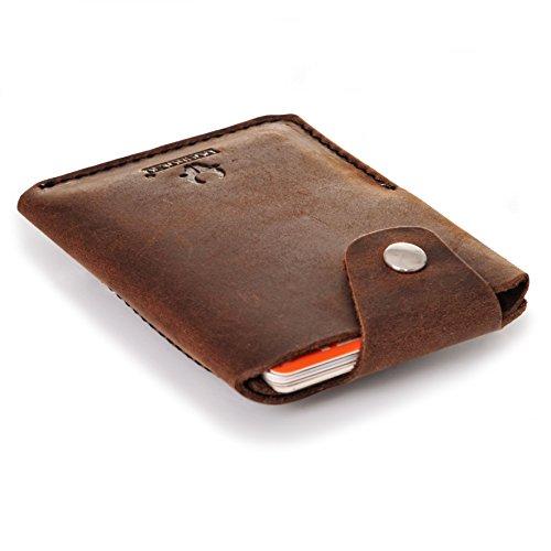 DONBOLSO Mini-Geldbörse I Kartenetui mit Münzfach aus Vintage-Leder I Unisex I Slim-Wallet in Geschenk-Box I Braun (Leder Wallet Mini)