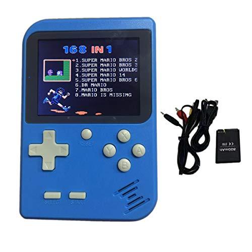 Gugutogo Mini-Konsole für Spieler, 8 Bit, Retro-Spiele-Tasche, tragbar, in 168 klassischen Spielen, Kinder blau (64-konsole Nintendo Tragbare)