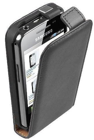Ultra Slim Noir Cuir Étui Coque pour Samsung Galaxy Ace (GT-S5830i / S5839i) - Flip Case Cover Pochette