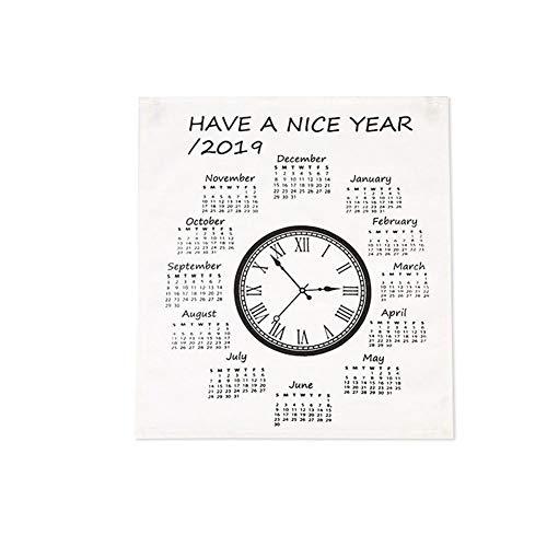 iBaste_top Kalender 2019 Neues Jahr Einfache Uhr Kalender Innovative Stoff Englisch Wandkalender Hängen Tischdecke