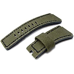 MiLTAT Military Green Washed Canvas for Bell & Ross replacement Strap, Black stiches