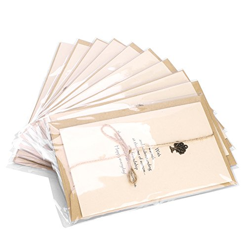 10 Stück Grußkarte retro Weihnachten Karten christmas cards Falten einfach handmade kreativ für Geburtstag Thanksgiving Hochzeitstag business Einladung Weihnachten Klappkarte mit Umschläge kraftpapier