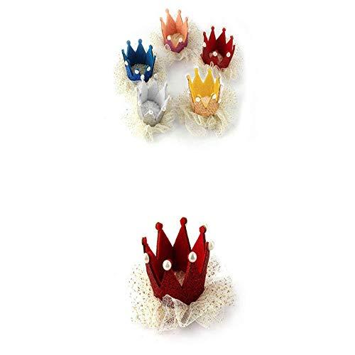 VICKY-HOHO Baby Mädchen Krone Perle Prinzessin Heißer Verkauf Baby Mädchen Krone Perle Prinzessin Haarspange Party Zubehör (rot, Stoff) (Prinzessin Verkauf Für Krone)