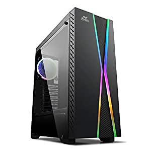 Ant Esports ICE-200TG Mid Tower Gaming Cabinet Computer case with RGB Front Panel Supports ATX, Micro-ATX, Mini-ITX Motherboard with Transparent Tempered Glass Side Panel,1 x 120 mm Rainbow Fan