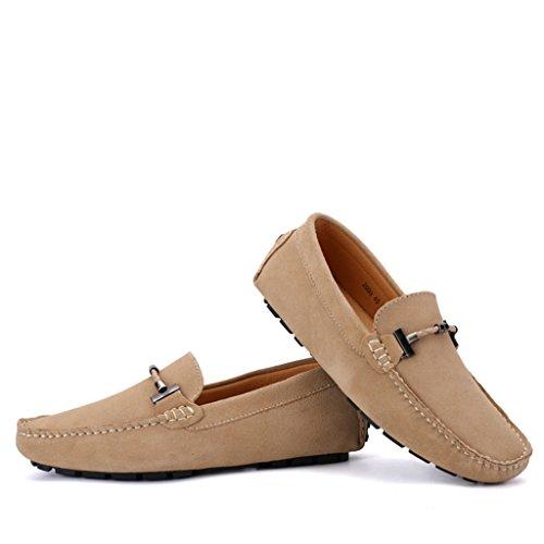 Eagsouni® Herren Mokassins Bootsschuhe Wildleder Loafers Schuhe Flache Fahren Halbschuhe Sommer Beiläufig Slippers Hausschuh #1Khaki
