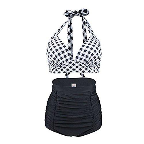 Vintage Bademode mit Faltenwurf hohe Taille Bikini Set Badeanzug High Waist Push Up Swimwear Neckholder (EU 34-36 / M, Weiß)