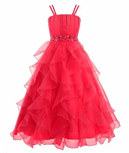 YiZYiF Festliches Mädchen Kleid Pinzessin Kostüm Lange Brautjungfern -