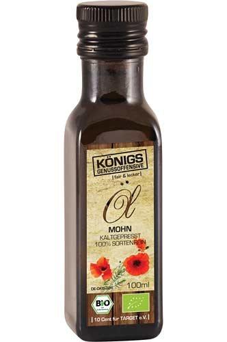 Mohnöl, BIO Öl, kaltgepresst, GO!, alle Zutaten mit Bio-Zertifizierung, 100ml - Bremer Gewürzhandel - Mohn-Öl
