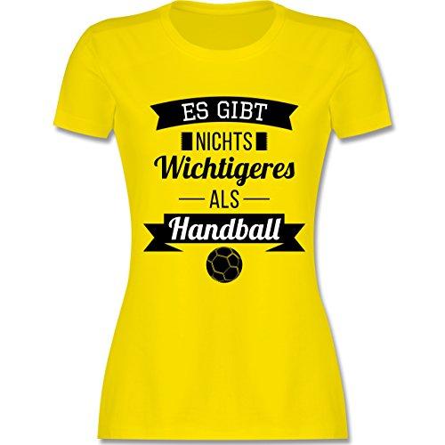 Handball - Es gibt Nichts Wichtigeres als Handball - XXL - Lemon Gelb - L191 - Damen T-Shirt Rundhals