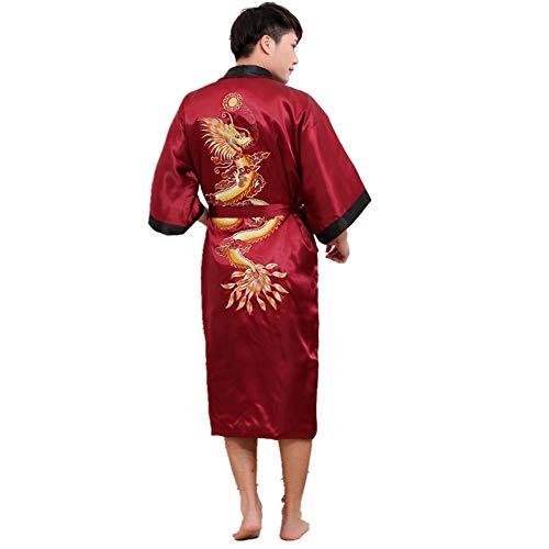 ZTIANR Männer Drachen Floral Satin Kimono-Kleid-Bademantel Schlafen Wear Nachtwäsche Silk Yukata,Rot,OneSize