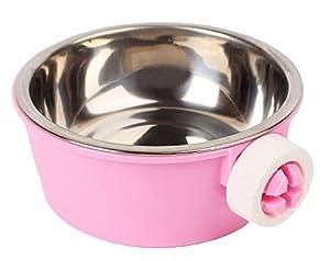 Itemer Bol pour animaux de compagnie en plastique et en acier inoxydable, bol d'alimentation 2en 1pour chien et chat, Mangeoire pour petits animaux en cage