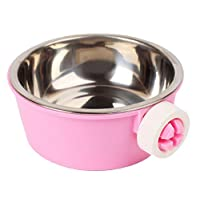 Wimagic 1x Dog Bowl Stainless Steel Removable Pet Feeder Crates Cage Hanging Bowls for Pet Cat Dog Rabbit Hamster Food and Water Feeder - Pink