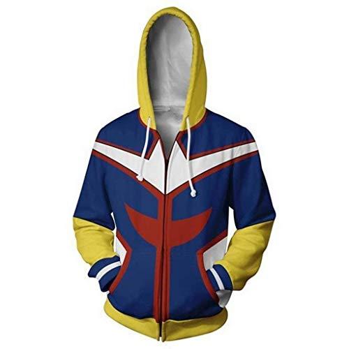 NJunicorn Uncle Boku no Hero Zip Up Hoodie Sweatshirt My Hero Academia Cosplay All Might Character Kostüm Unisex Jacke Kapuzenpullover (Art A, XL)