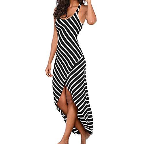 Zoerea Damen Sommerkleid Ärmellos Sexy Streifen MaxiKleid Split Lange Kleider mit U-Ausschnitt Strandkleid -
