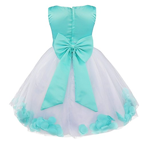 iEFiEL Girl Bowknot Flower Petals Dress Christening Wedding Bridesmaid Formal Party Dress