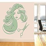 guijiumai Adesivo da Parete in Vinile per Parrucchieri Bella Ragazza Decalcomania Rimovibile Salon Shop Home Decor Art Poster Decorazione della Stanza Z 4 60x75 cm