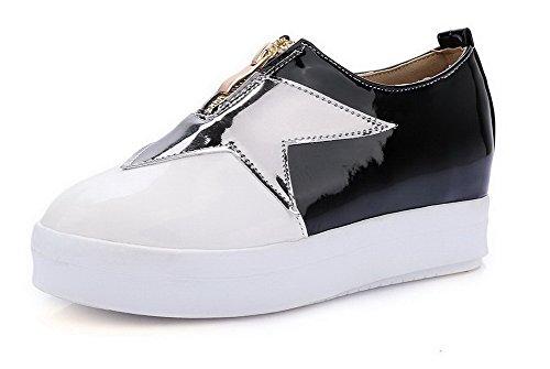 AllhqFashion Femme Zip à Talon Bas Pu Cuir Couleurs Mélangées Rond Chaussures Légeres Blanc