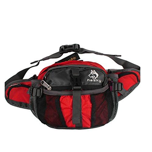 Outdoor peak Unisex Nylon wasserabweisend Gürteltasche Tagetasche Messenger Bag Wanderrucksack Multifunktions-Tasche Radfahrrad Trekkingrucksack Wandern Rot
