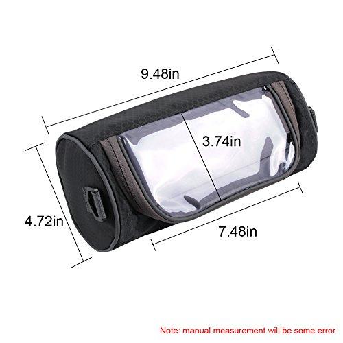Richoose Lenkertasche Hochwertige Touch-Screen-Handy die Frontscheibe wasserdichte Fahrradtaschen Handtaschen Top-Regal abnehmbarer Schultergurt Schwarz