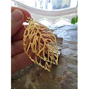 ✿ LANGE BLATT VENEN IN GOLD – BLATTOHRRINGE ✿ leichte goldene Ohrringe