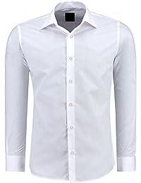 Herren-Hemd – Slim Fit – Bügelfrei / Bügelleicht – Für Business Freizeit Hochzeit – J'S FASHION