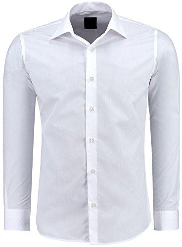 Herren-Hemd – Slim Fit – Bügelfrei / Bügelleicht – Für Business Freizeit Hochzeit – J'S FASHION - Weiß - Xxl (Weiss Anzug Herren)