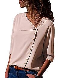 Aleumdr Mujer Blusa Cuello En V Camiseta de Mangas Largas Camisa con  Botones Size S- c9891d099d671