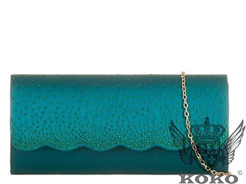 Hautefordiva , Damen Clutch fuchsia M blaugrün