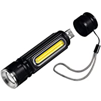 Linterna LED, Cofuture Literna de Mano 4 Modos USB Recargable 800 Lumen Bateria Linternas 18650 Impermeable IP65 Linterna Táctica Alta Potencia Portátil Zoom de Mano Antorcha Imán Luz Lateral