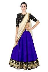 Omstar Fashion Womens Banglori Silk Lehenga Choli(Omal_Blue Free Size)