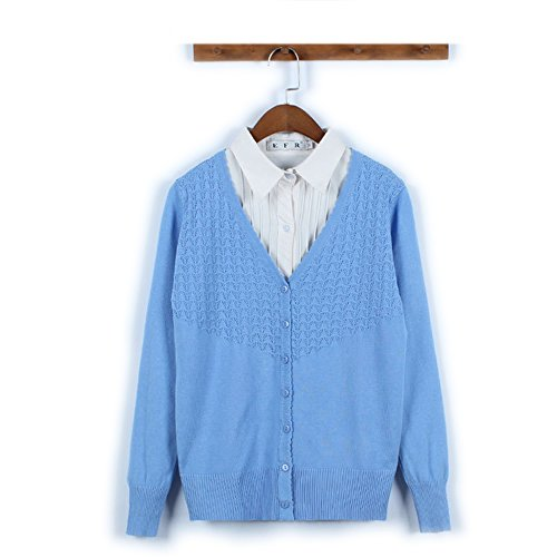 HIDOUYAL - Gilet - Uni - Manches Longues - Femme Taille unique Bleu