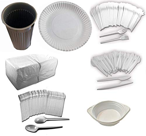 Trendsky® EINWEG PARTY-SET 100 x Plastik Suppenteller + 100 x Plastik Gabel +100 x Plastik Messer + 100 x Plastik Löffel + 100 x Plastik Trinkbecher + 500 Servietten
