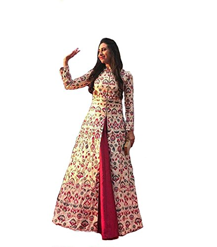 Sai creation Women's Printed Banglori silk Lehenga (gowns_bollywood_karishma kapoor_party wear_gown_indo western)
