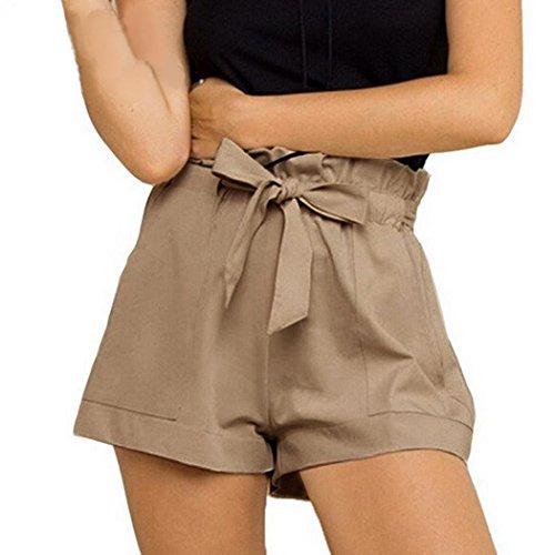 Btruely-Shorts Damen Sommer Kurze Hosen Damen Lässige Design Hohe Taille Lose Modische Shorts Frau mit Gürtel (Asia Größe XL, Khaki) (Damen Rock Design)