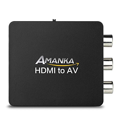 HDMI auf AV,AMANKA 1080P HDMI zu RCA Konverter Wandler 3RCA CVBS Composite Video Audio HDMI to Cinch Adapter mit USB Ladekabel für TV DVD Pal PS3 NTSC(Schwarz) Composite-av-usb