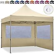 TOOLPORT Faltpavillon Faltzelt 3x3m - 2 Seitenteile ALU Pavillon Partyzelt creme Dach 100% WASSERDICHT