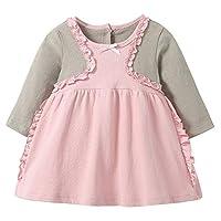 Hongyuangl Toddler Girl Soft Cotton Dress Long Sleeve Dress Autumn Winter Basic Warm Casual Playwear 3-36 Months Pink