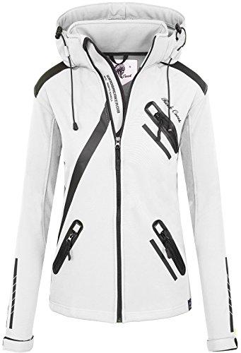 Rock Creek Damen Softshell Jacke Übergangs Jacke Windbreaker Regenjacke Damenjacken Outdoorjacke Windjacke D-371 Weiß S -