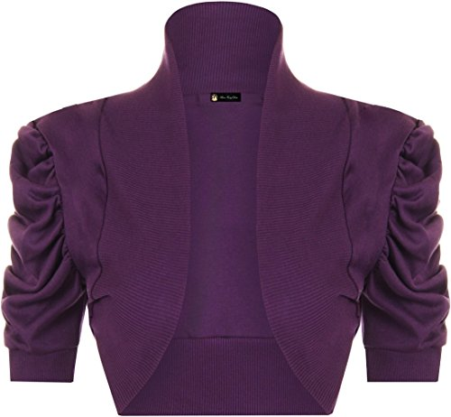 Gerippte Shrug (Ladies Shrug Cotton Ruched Short Sleeve Bolero EUR Size 36-42 (M/L (EUR 40-42), Lila))