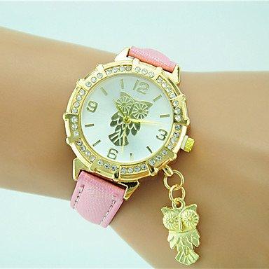 XKC-watches Herrenuhren, Damen Modeuhr Armbanduhr Quartz Strass Leder Band Bequem Eule Schwarz Weiß Blau Orange Grün Gold Rosa (Farbe : Rosa)