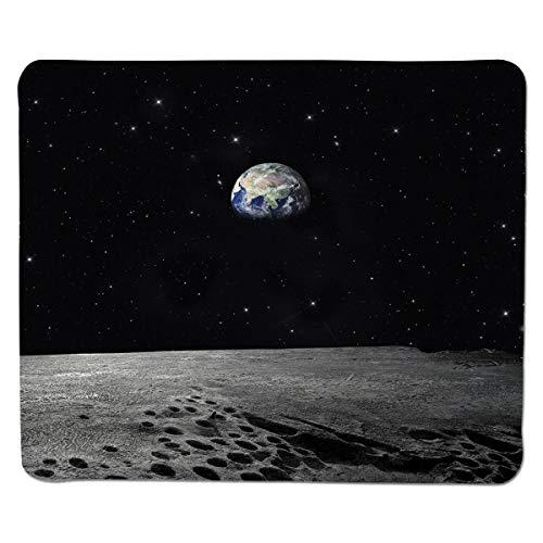 Mauspad Erde, Planeten-Erde, wie vom Mond gesehen Weltraum-Milchstraße-ruhige nächtliche Himmel-Galaxie dekorativ, schwarzes graues Blau genähter Rand -