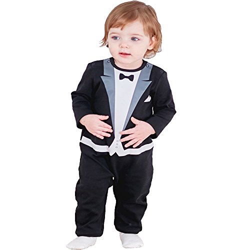 Anna King Baby Mädchen Jungen Strampler Baumwolle super weicher Kinder Schlafanzug Gentleman Festliche Taufe Hochzeit Weihnachten Langarm Strampler 9M