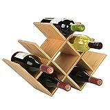 mDesign Range Bouteille pour vin - Joli casier à Bouteille en Bois pouvant contenir Jusqu'à Huit Bouteilles - Porte Bouteille autoportant pour Boissons et Bouteilles de vin - Couleur Nature