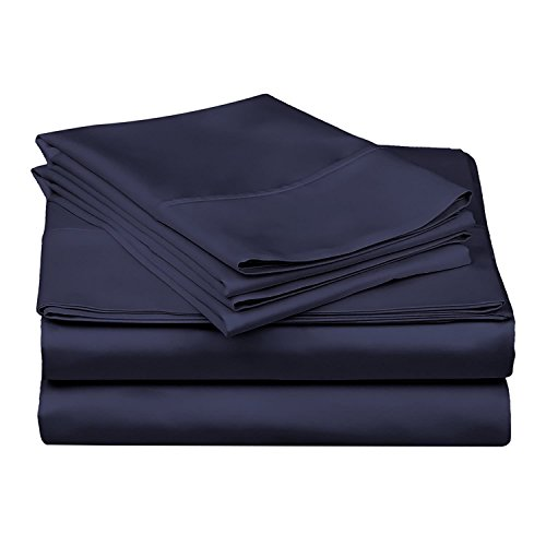 400 Thread Count 100% Cotton (Navy Blue Solid, Euro Ikea King Size)3 Piece Set (1 Fitted Sheet and 2 Pillow Case) +30 Cm Deep Pocket, Long-staple Combed Pure Natural Cotton Bedsheets, Soft & Silky Weave by PC Diana linen